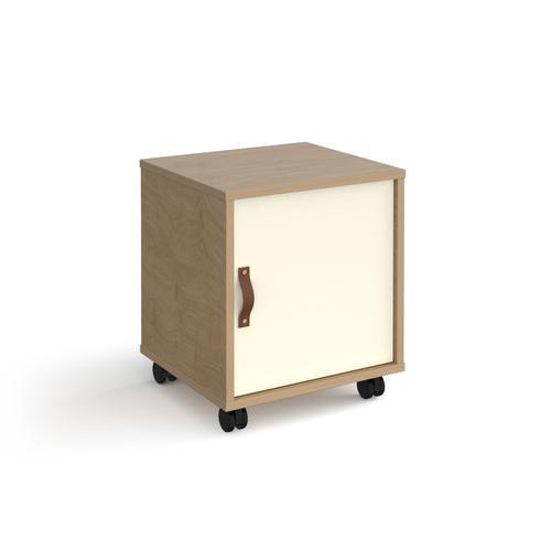 Universal mobile pedestal with cupboard door 400mm deep - oak with white door