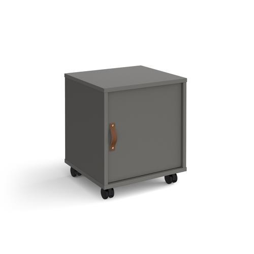 Universal mobile pedestal with cupboard door 400mm deep - grey with grey door