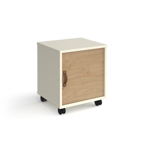 Universal mobile pedestal with cupboard door 400mm deep - white with oak door