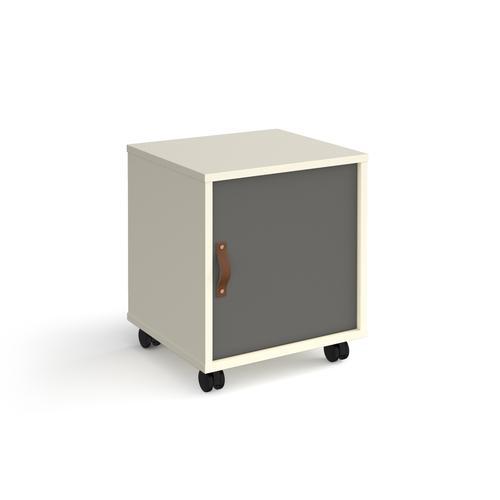 Universal mobile pedestal with cupboard door 400mm deep - white with grey door