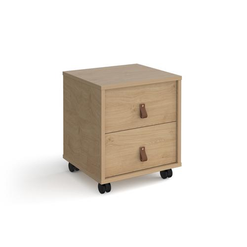 Universal mobile pedestal with drawers 400mm deep - oak with oak drawers