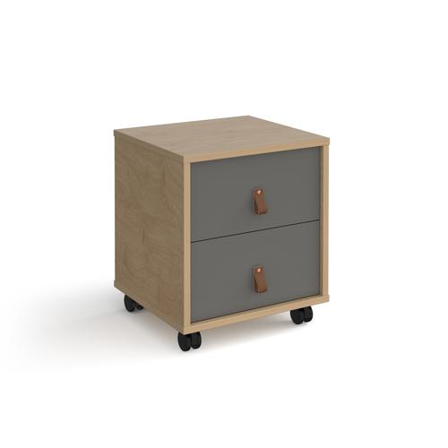 Universal mobile pedestal with drawers 400mm deep - oak with grey drawers