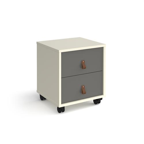 Universal mobile pedestal with drawers 400mm deep - white with grey drawers