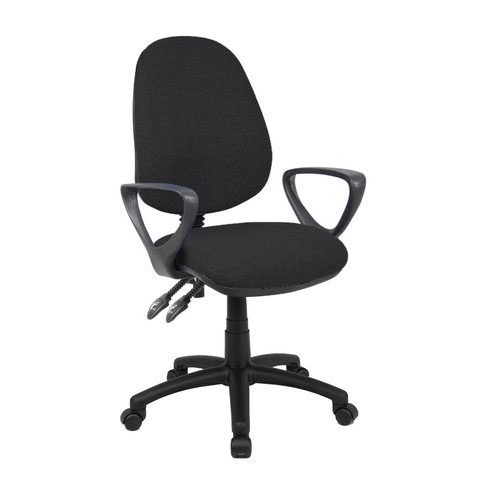 Vantage 100 2 lever PCB operators chair with fixed arms - black