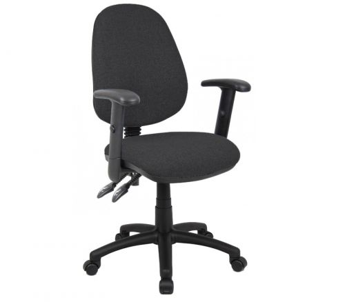 SO-V102-00C  Vantage 100 2 lever PCB operators chair with adjustable arms - charcoal