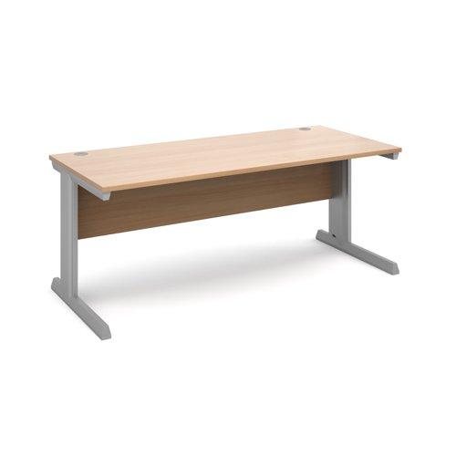 Image for Vivo straight desk 1800mm x 800mm - silver frame, beech top