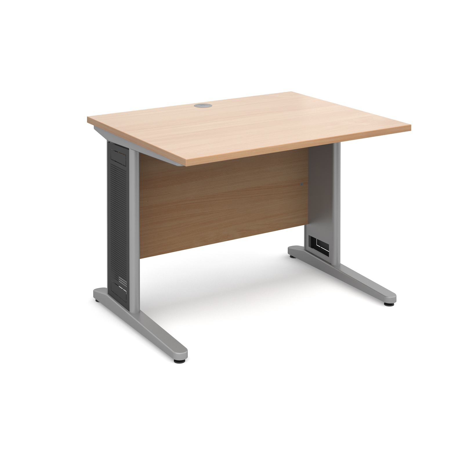 Largo straight desk 1000mm x 800mm - silver cantilever frame with removable grill, beech top