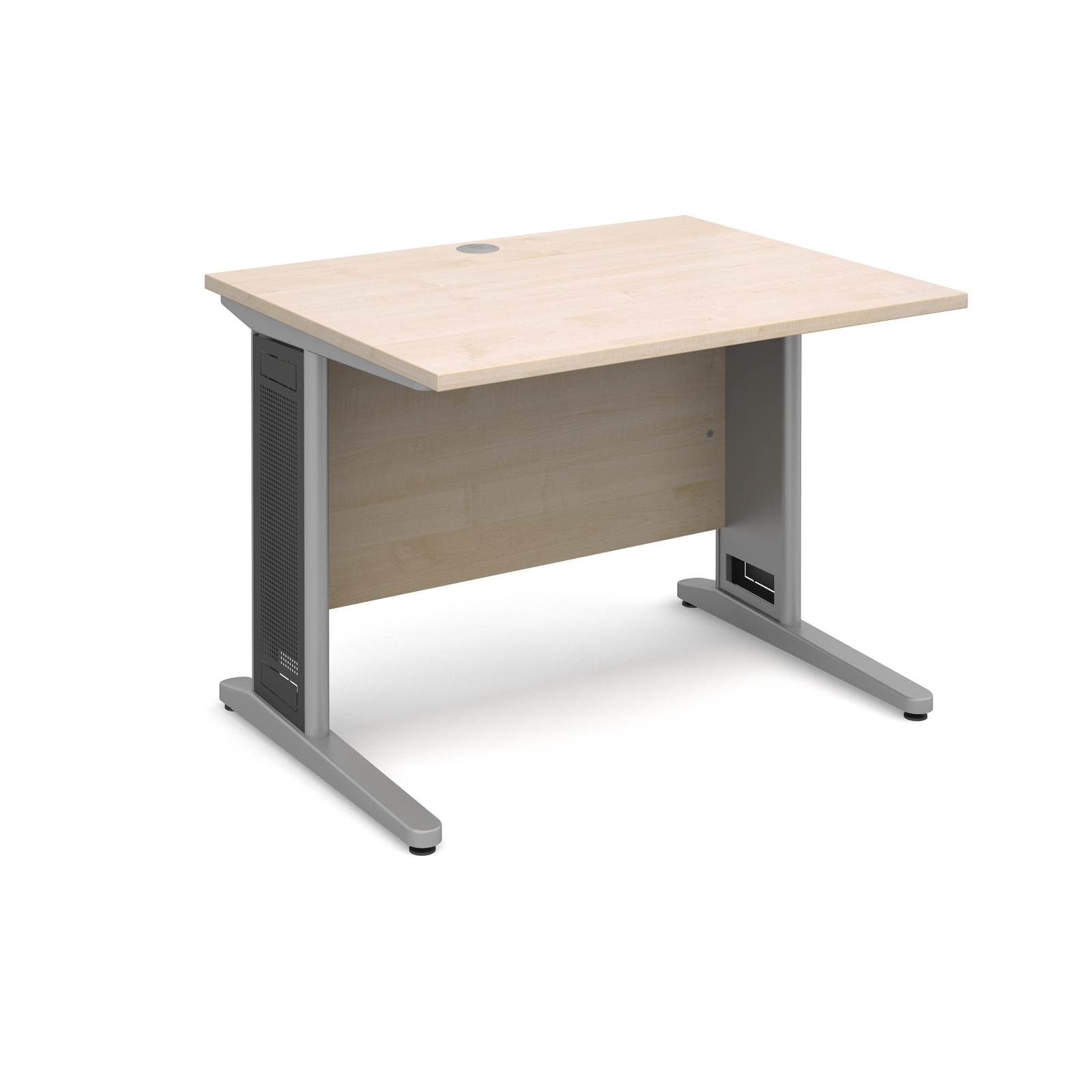 Largo straight desk 1000mm x 800mm - silver cantilever frame with removable grill, maple top