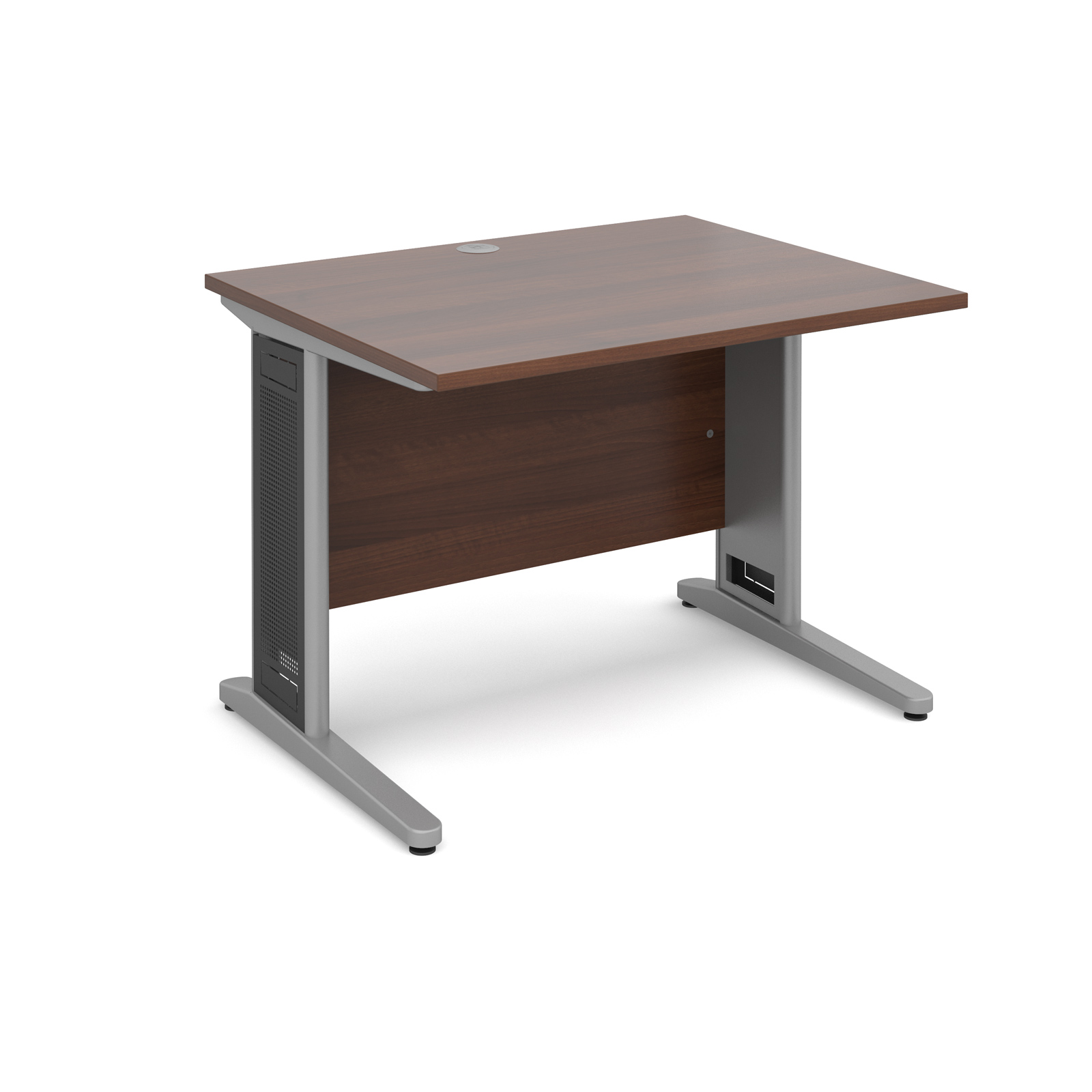 Largo straight desk 1000mm x 800mm - silver cantilever frame with removable grill, walnut top