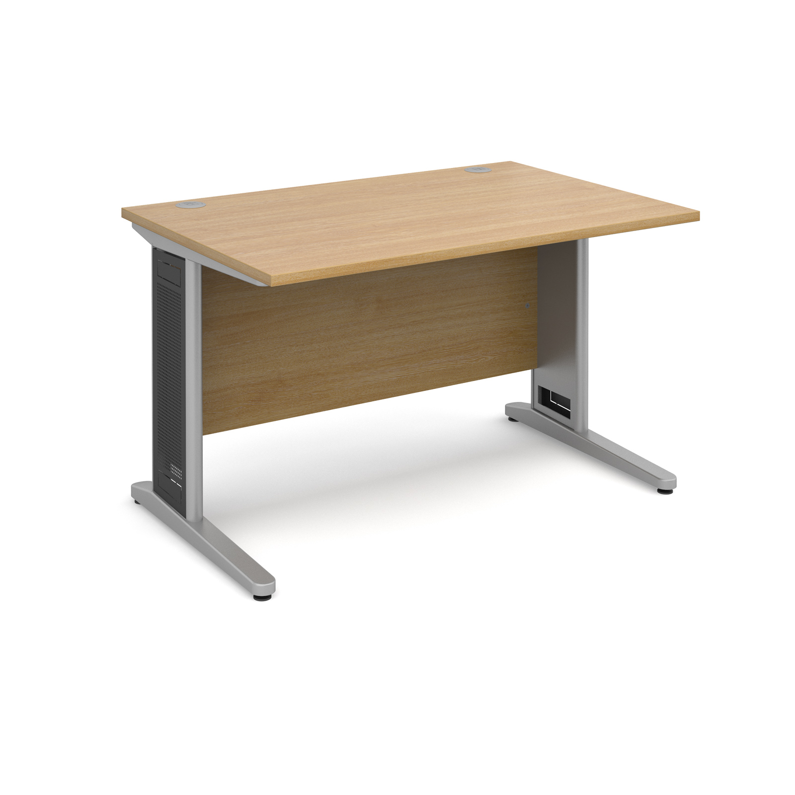 Largo straight desk 1200mm x 800mm - silver cantilever frame with removable grill, oak top