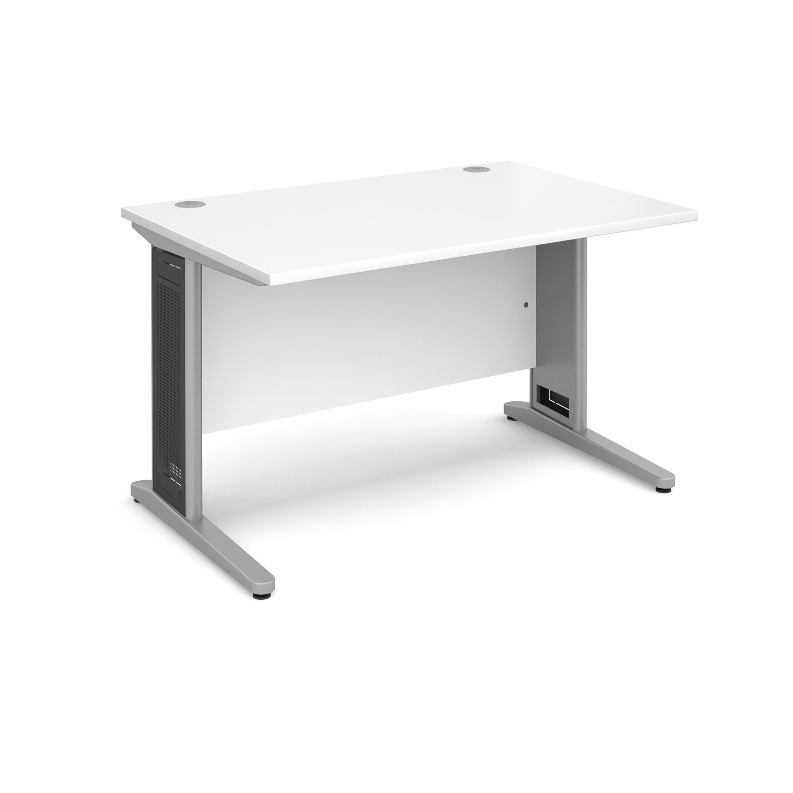 Largo straight desk 1200mm x 800mm - silver cantilever frame with removable grill, white top
