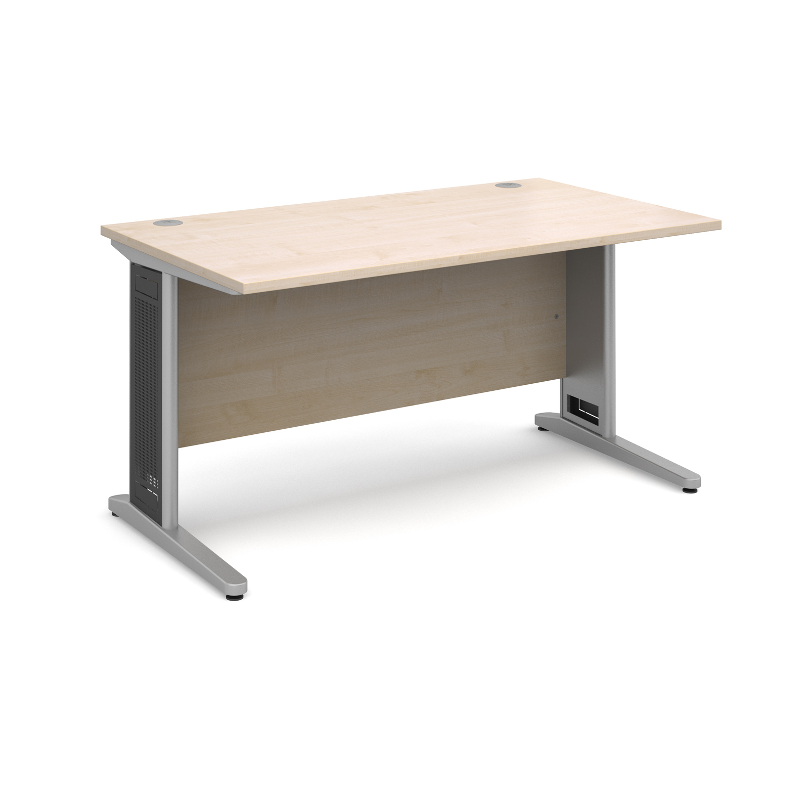 Largo straight desk 1400mm x 800mm - silver cantilever frame with removable grill, maple top