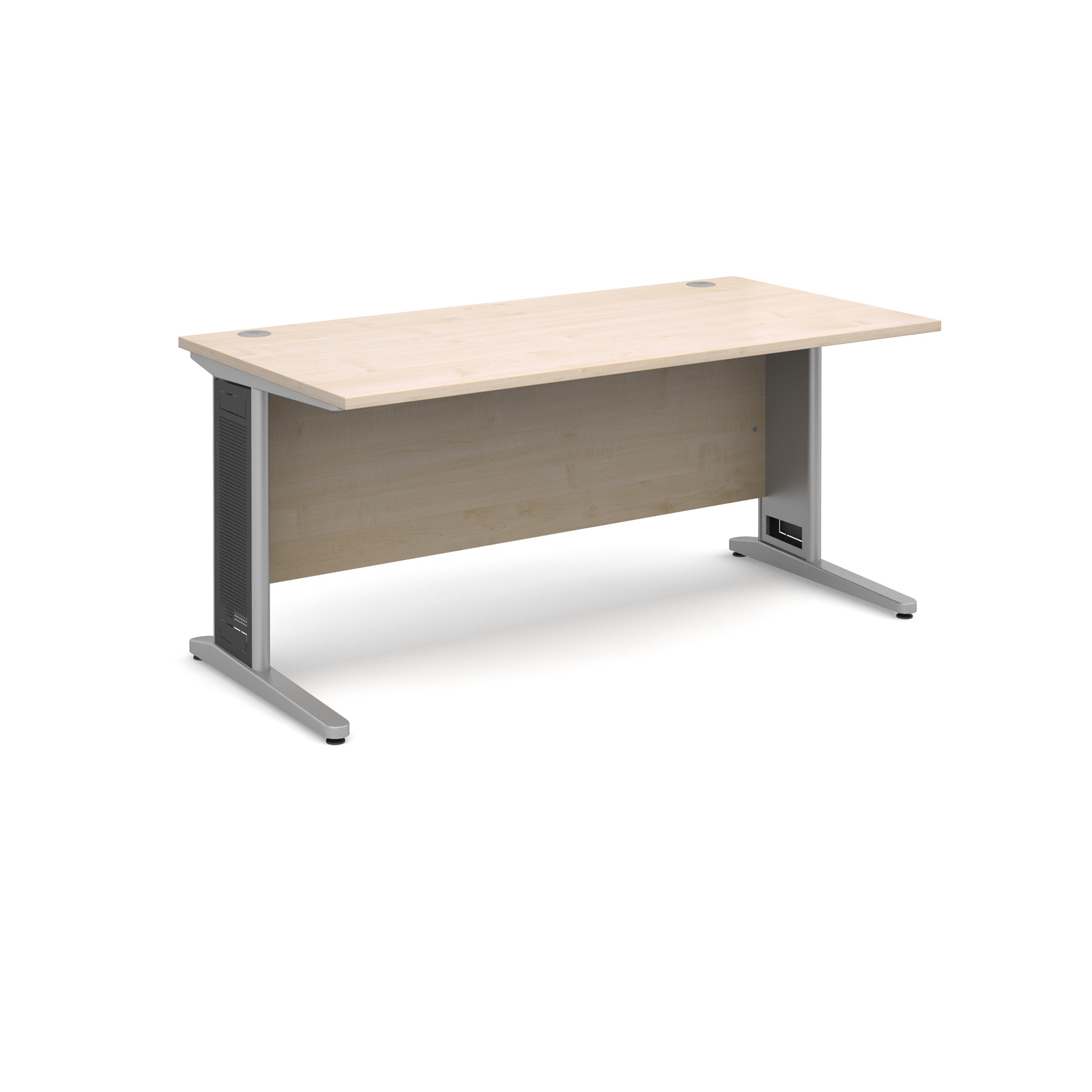 Largo straight desk 1600mm x 800mm - silver cantilever frame with removable grill, maple top