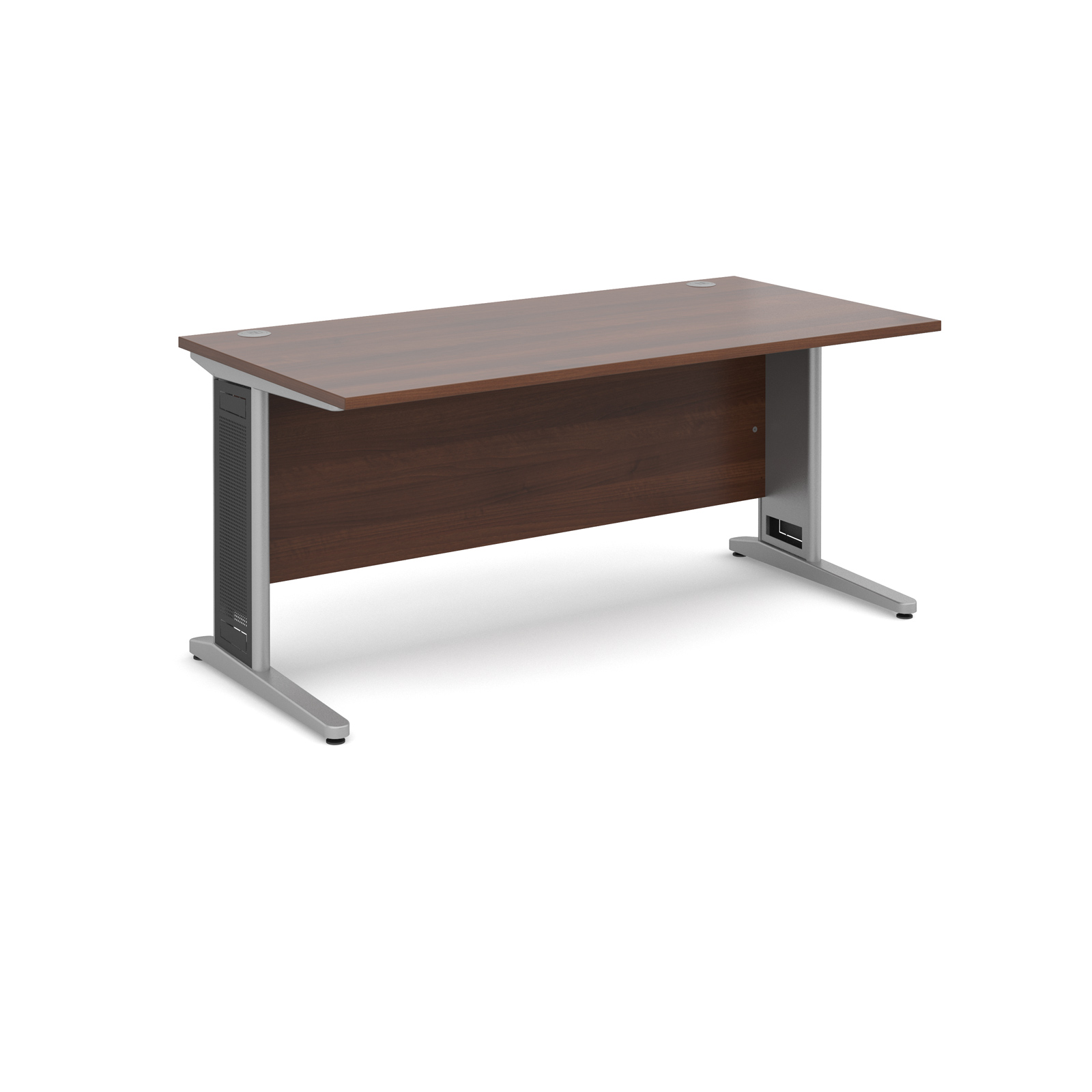 Largo straight desk 1600mm x 800mm - silver cantilever frame with removable grill, walnut top