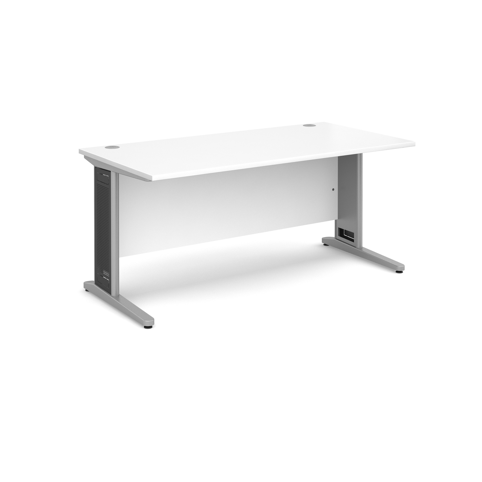 Largo straight desk 1600mm x 800mm - silver cantilever frame with removable grill, white top