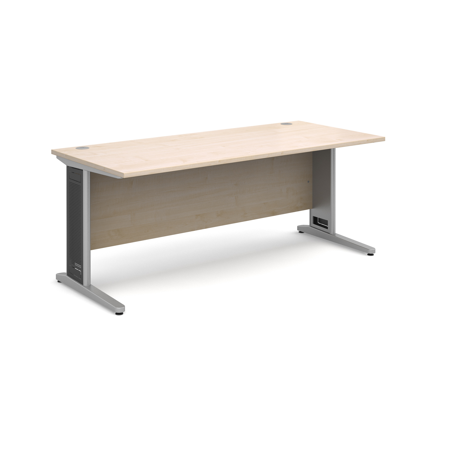 Largo straight desk 1800mm x 800mm - silver cantilever frame with removable grill, maple top