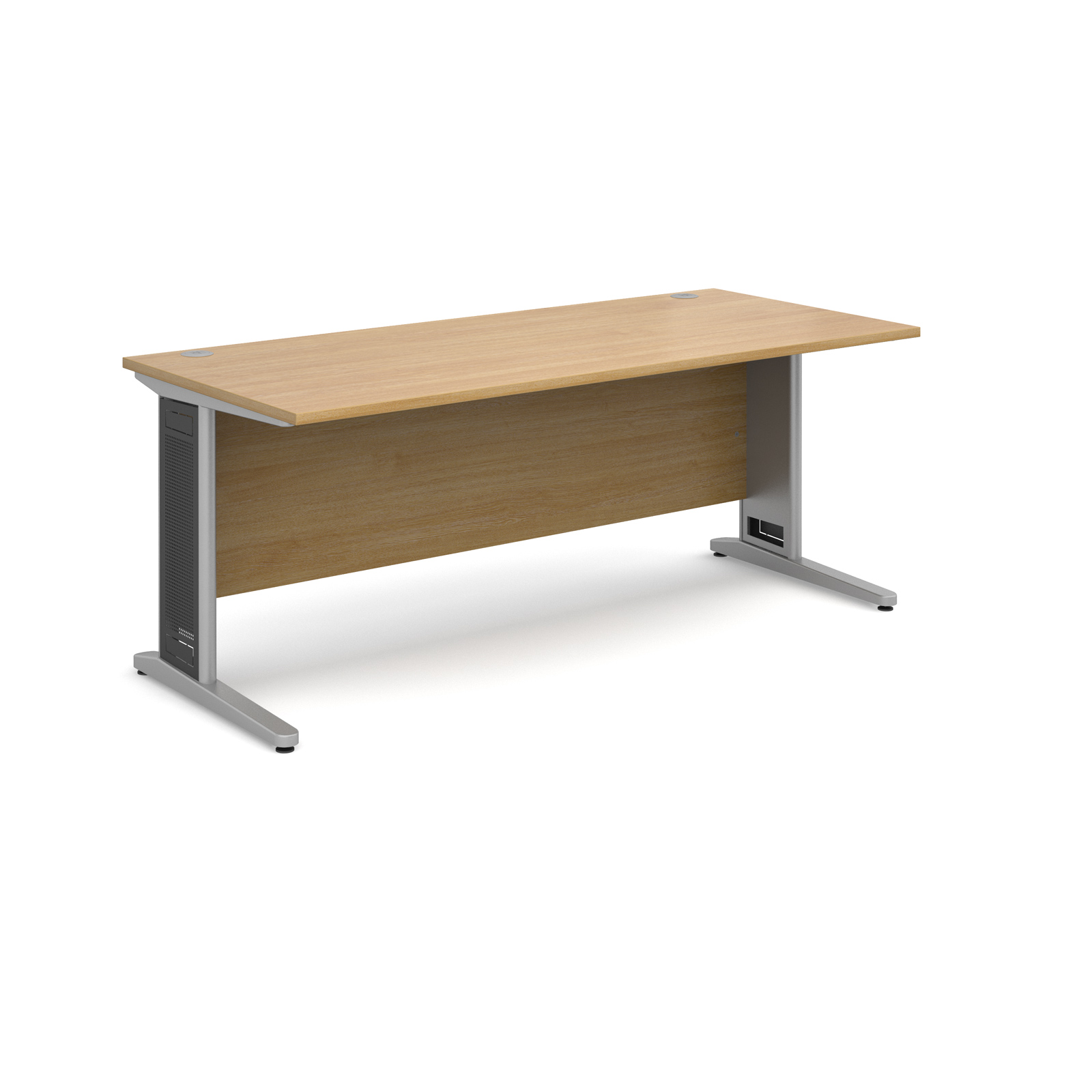 Largo straight desk 1800mm x 800mm - silver cantilever frame with removable grill, oak top