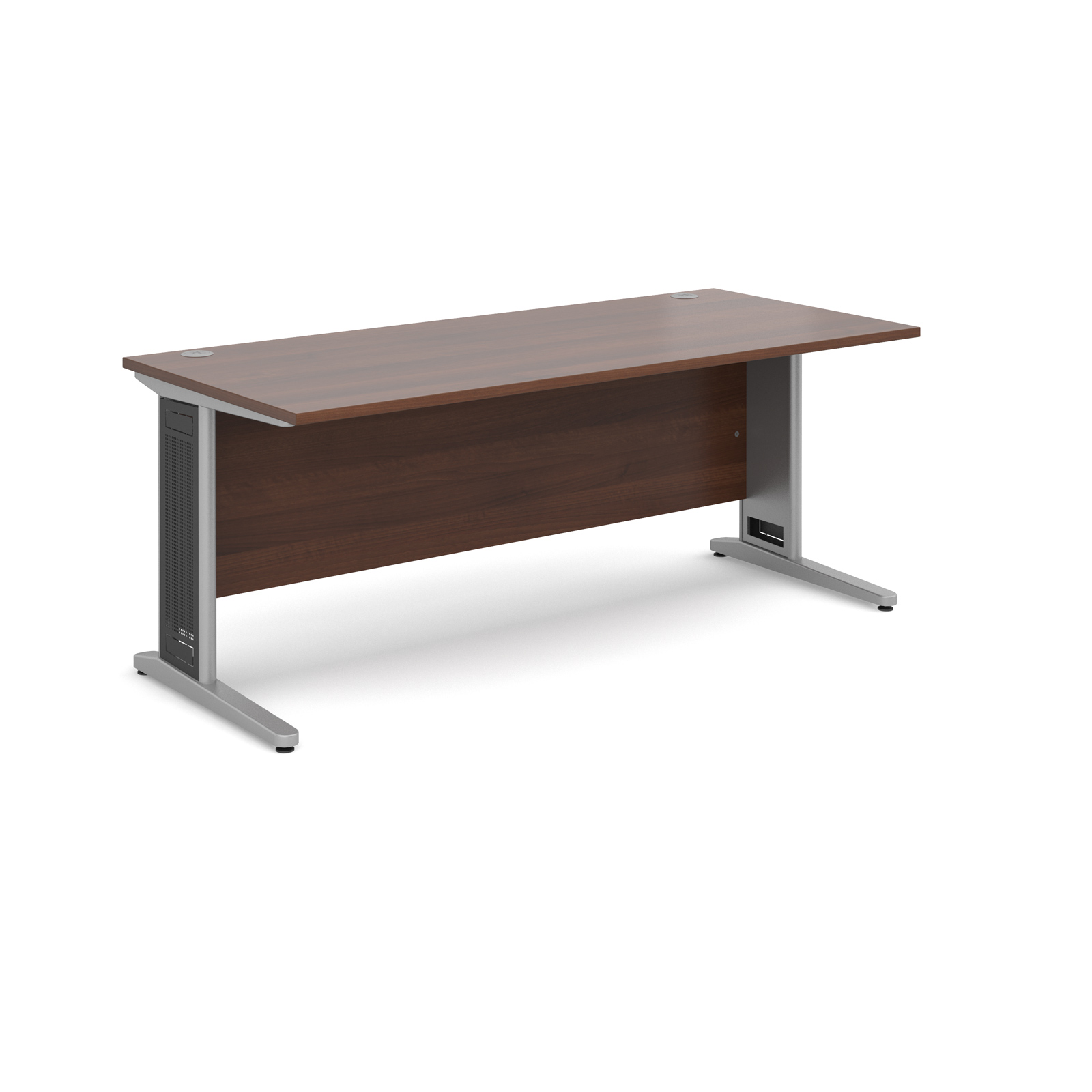 Largo straight desk 1800mm x 800mm - silver cantilever frame with removable grill, walnut top