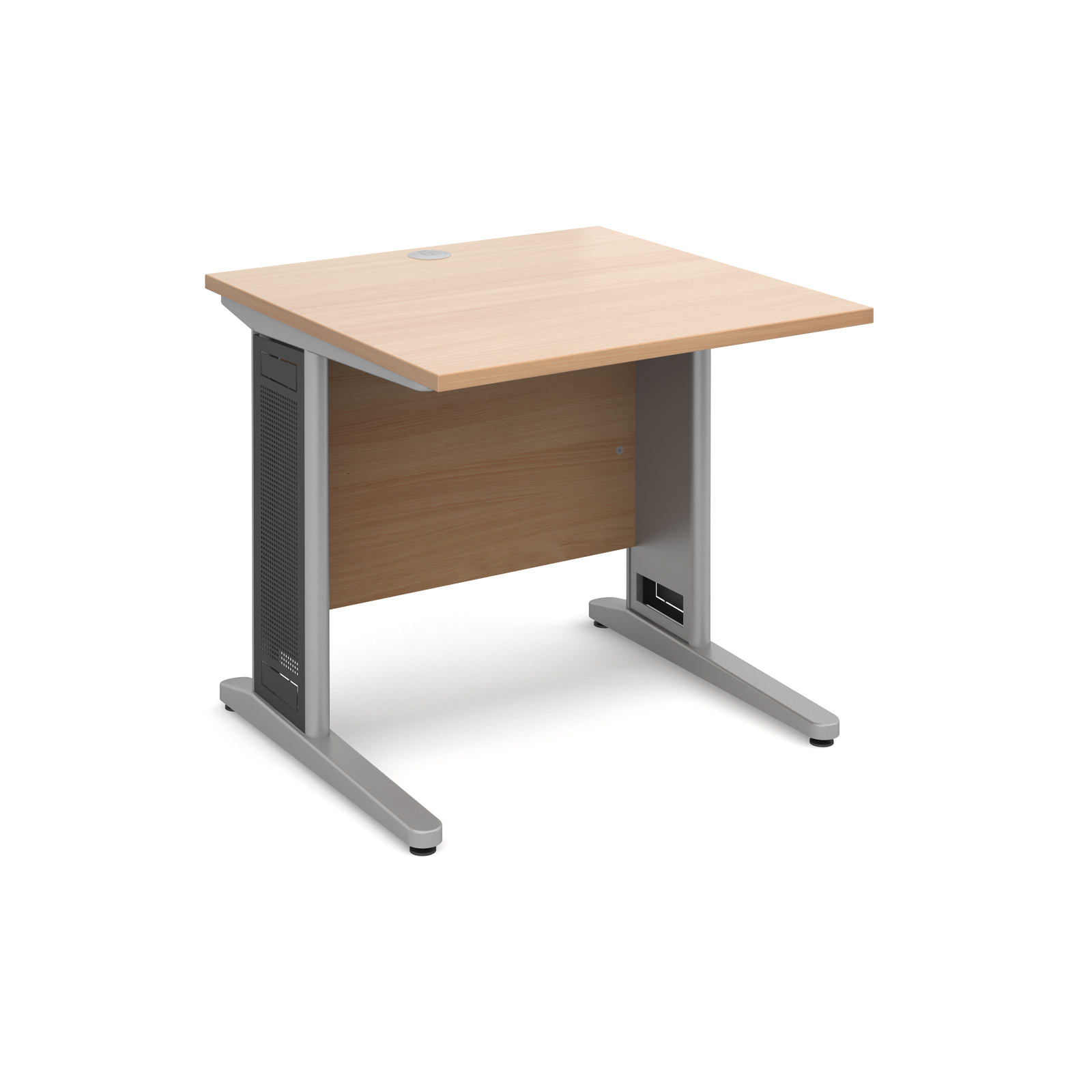 Largo straight desk 800mm x 800mm - silver cantilever frame with removable grill, beech top