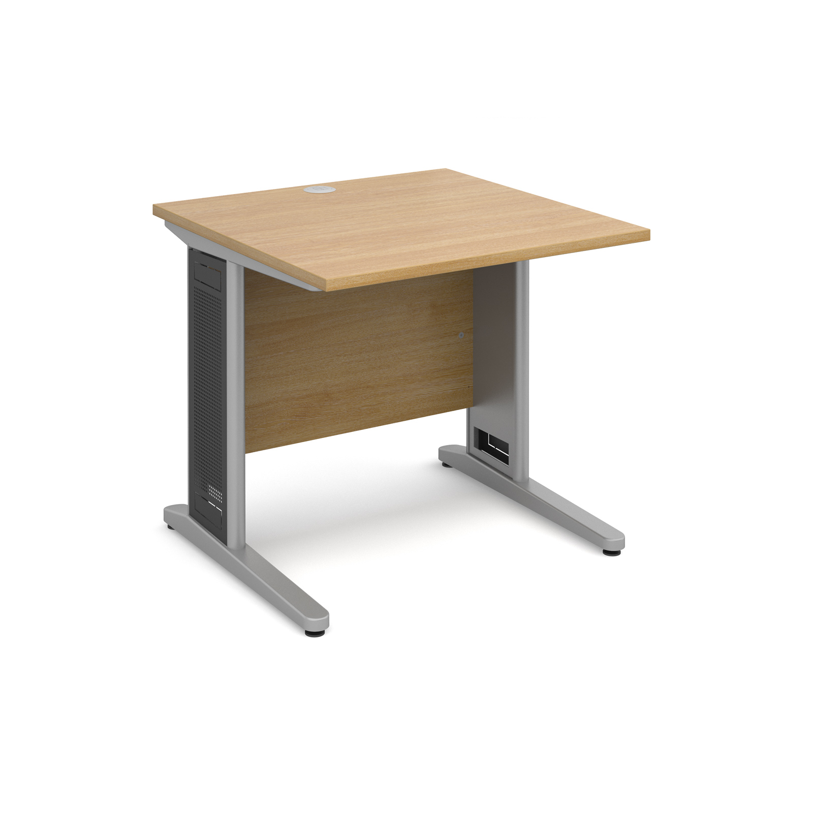 Largo straight desk 800mm x 800mm - silver cantilever frame with removable grill, oak top