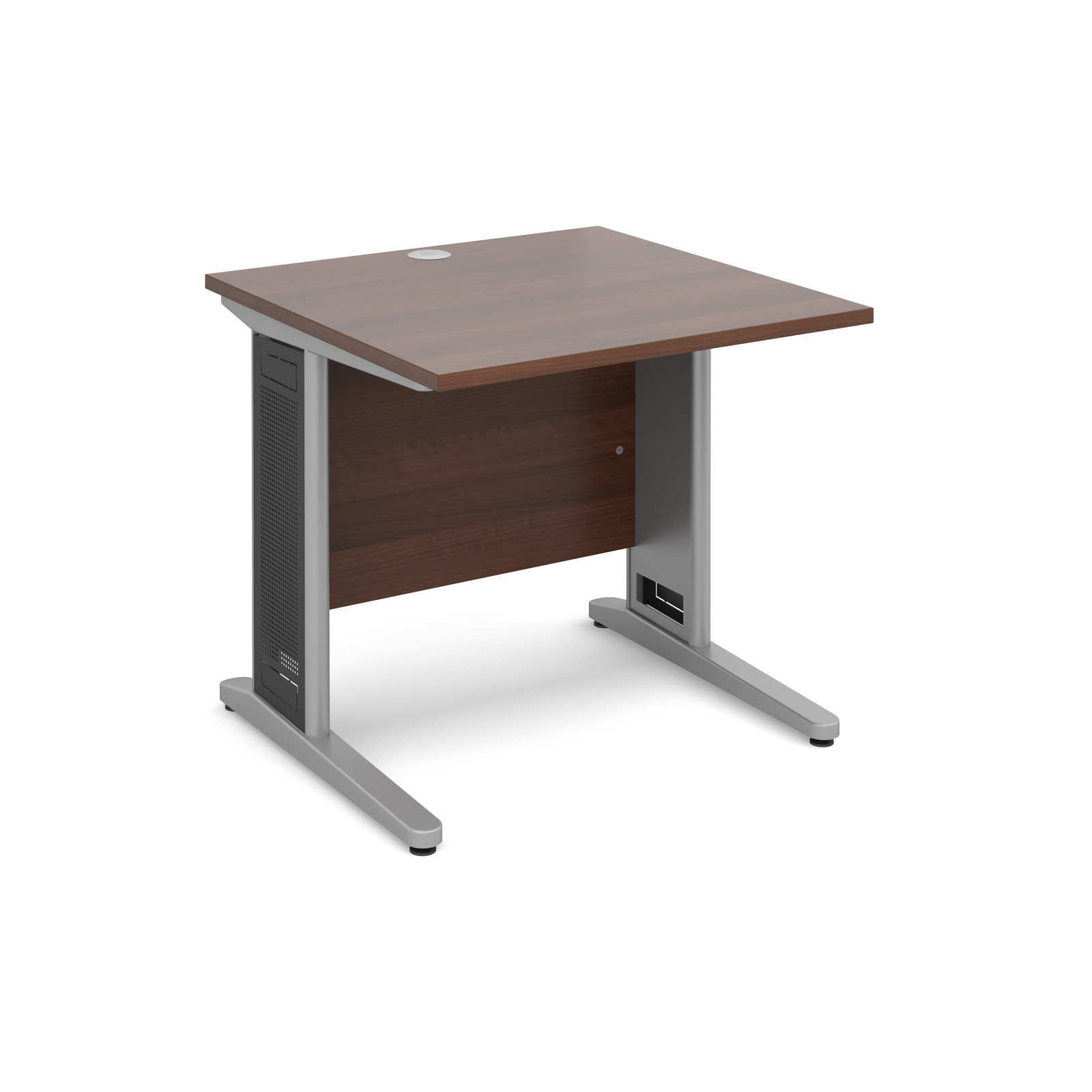 Largo straight desk 800mm x 800mm - silver cantilever frame with removable grill, walnut top