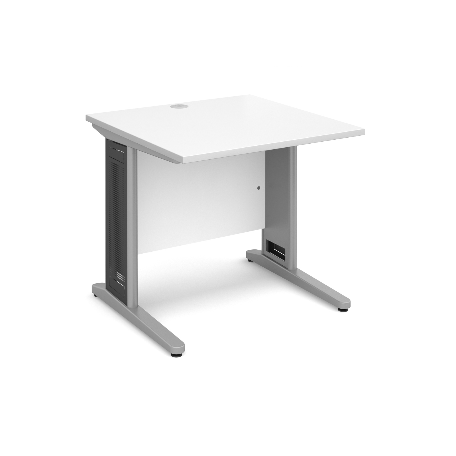 Largo straight desk 800mm x 800mm - silver cantilever frame with removable grill, white top