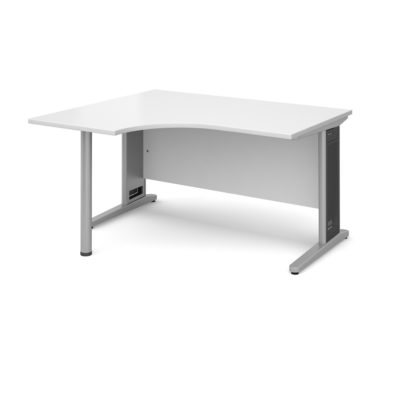 Largo left hand ergonomic desk 1400mm - silver cantilever frame with removable grill, white top