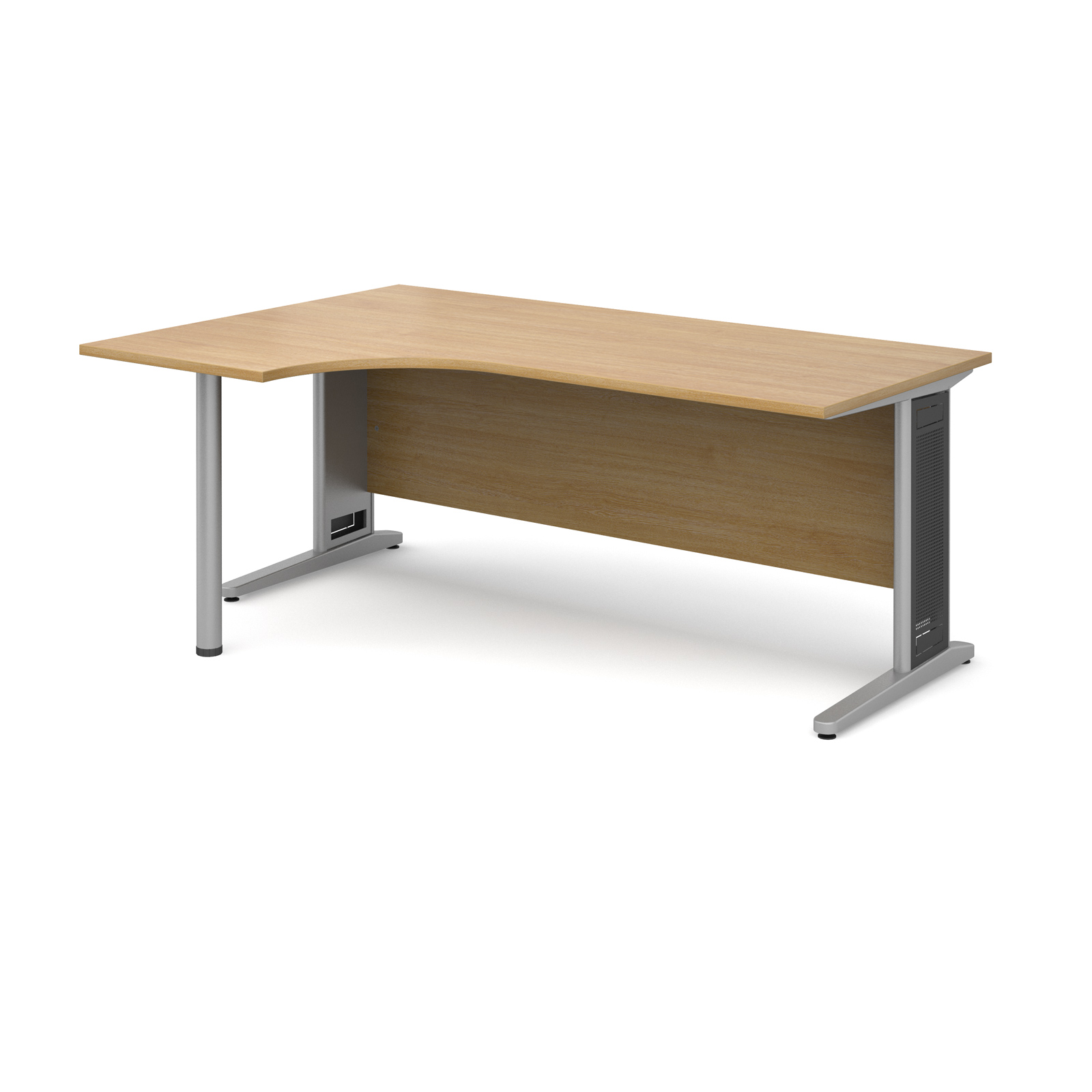 Largo left hand ergonomic desk 1800mm - silver cantilever frame with removable grill, oak top
