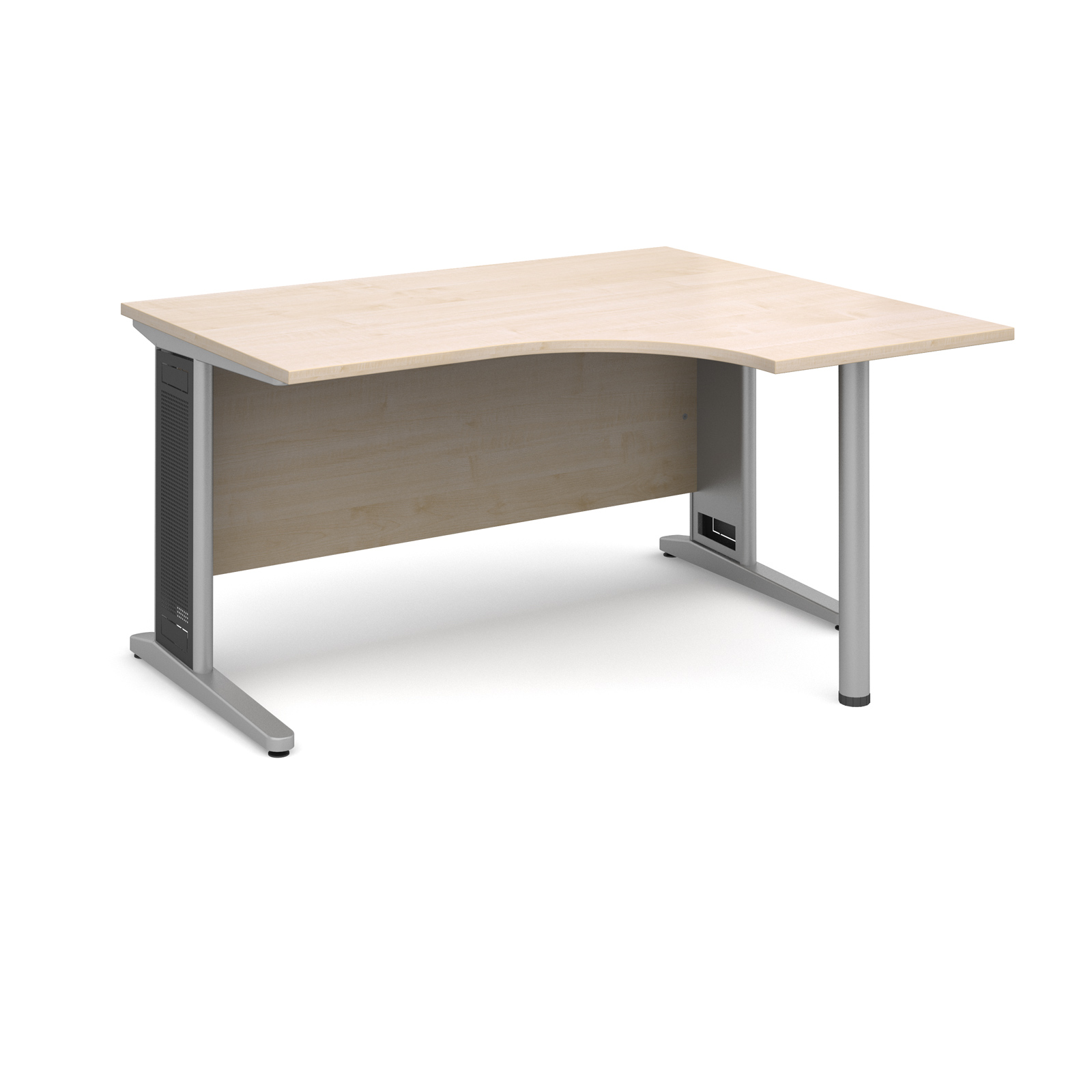 Largo right hand ergonomic desk 1400mm - silver cantilever frame with removable grill, maple top