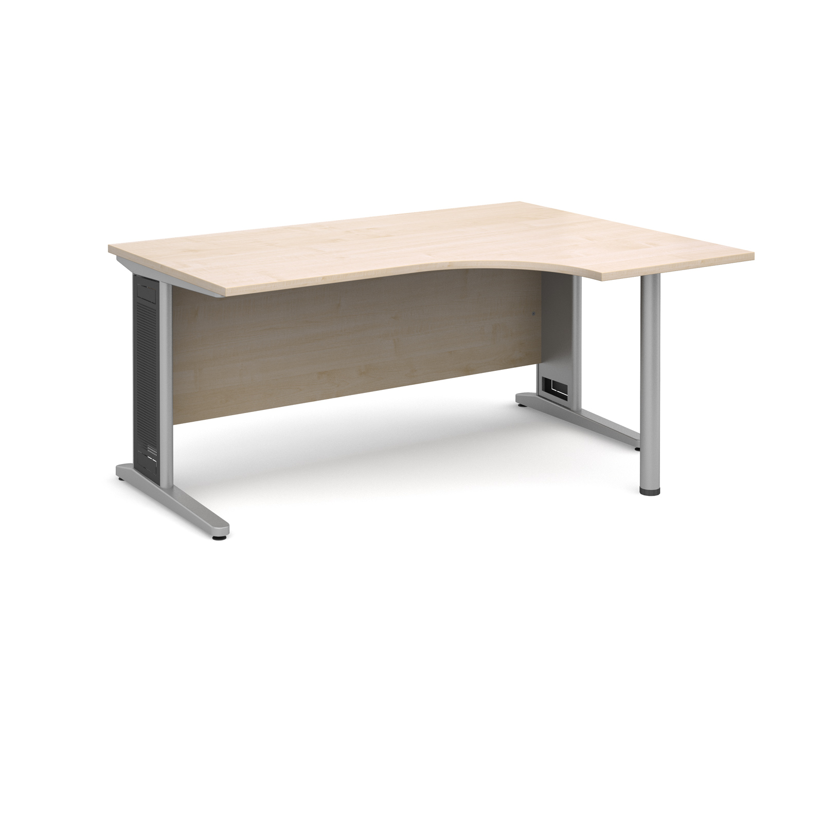 Largo right hand ergonomic desk 1600mm - silver cantilever frame with removable grill, maple top