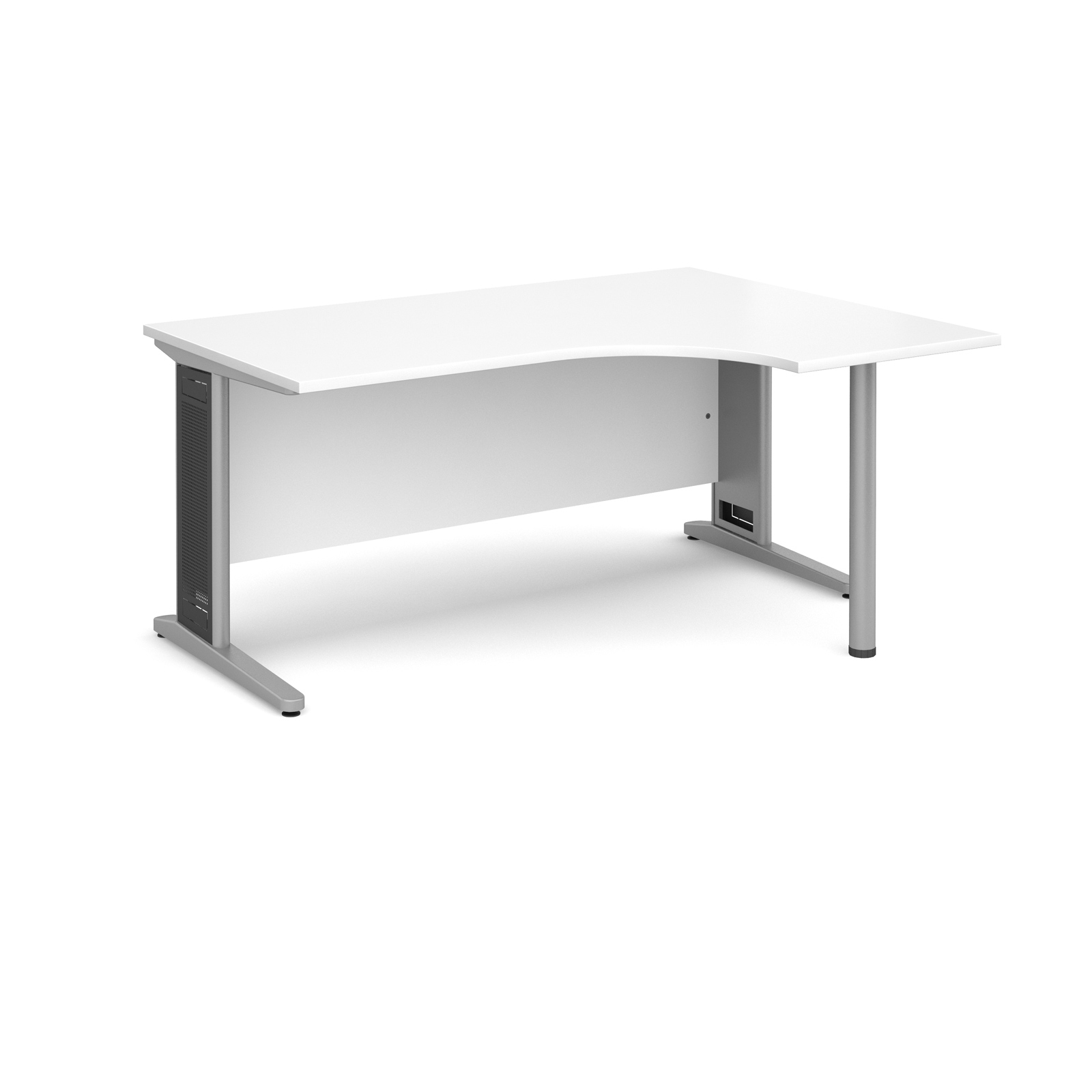Largo right hand ergonomic desk 1600mm - silver cantilever frame with removable grill, white top