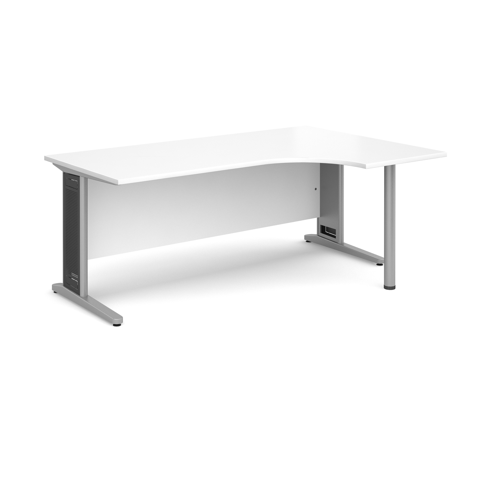 Largo right hand ergonomic desk 1800mm - silver cantilever frame with removable grill, white top