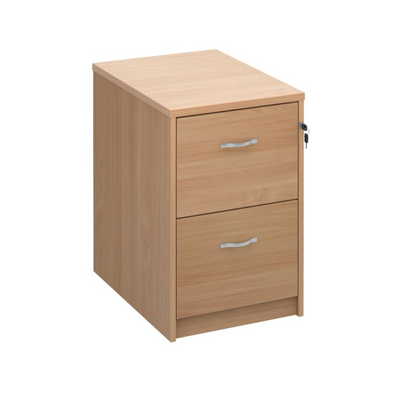 Deluxe 2 drawer filing cabinet with silver handles 730mm high - beech