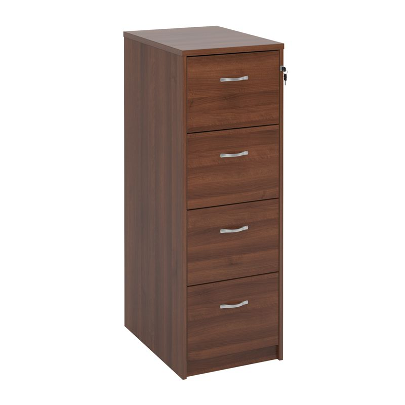 Deluxe 4 drawer filing cabinet with silver handles 1360mm high - walnut