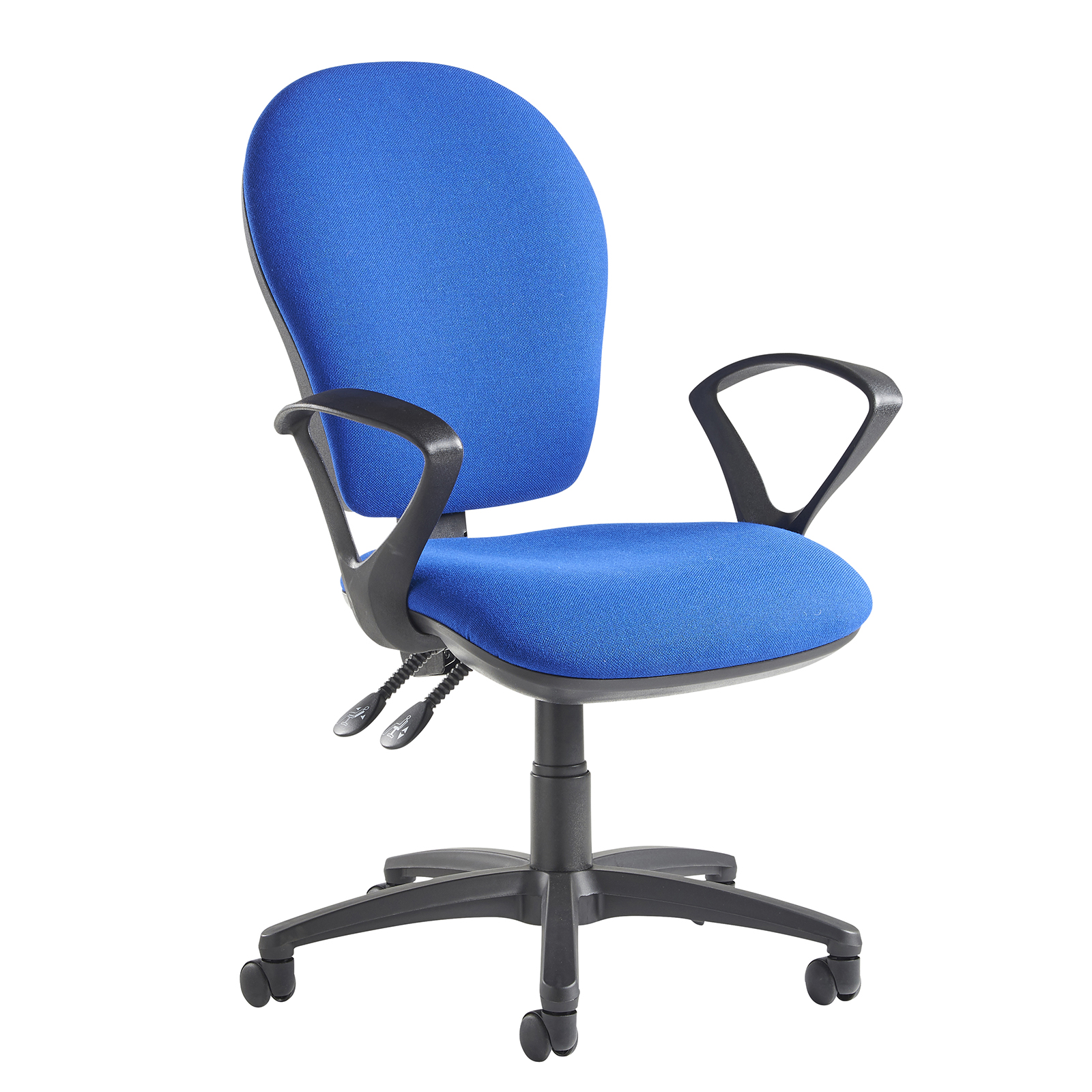 Lento high back operator chair with fixed arms - blue