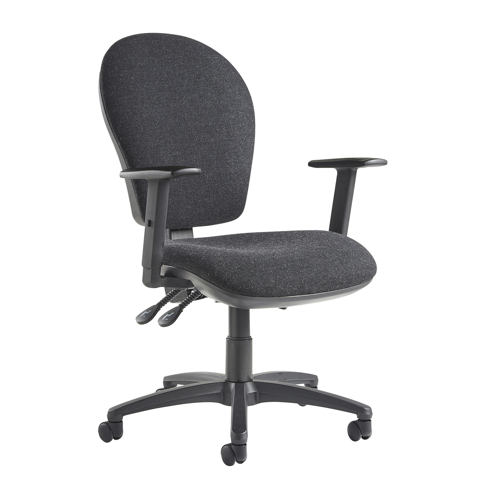 Lento high back operator chair with adjustable arms - charcoal