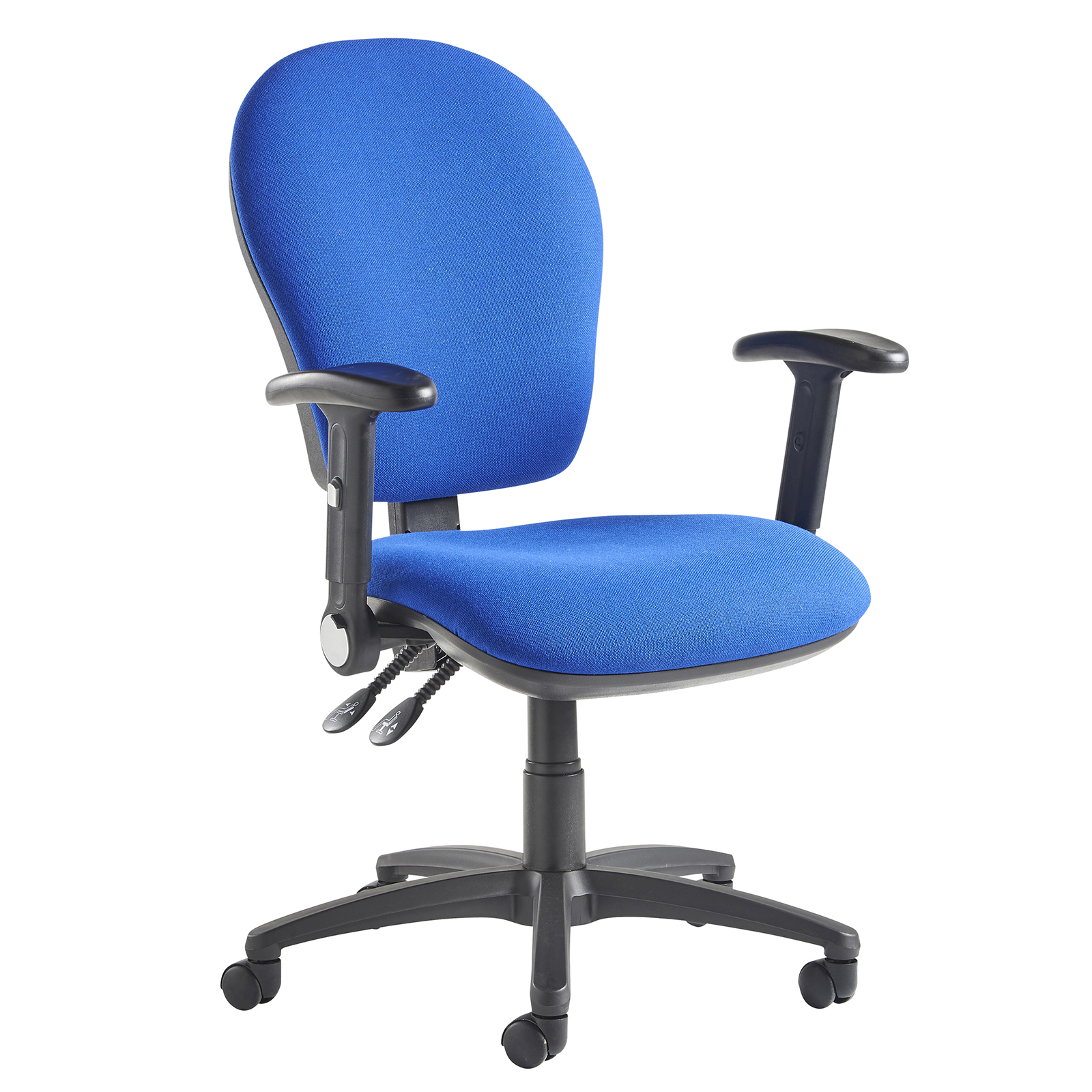 Lento high back operator chair with folding arms - blue