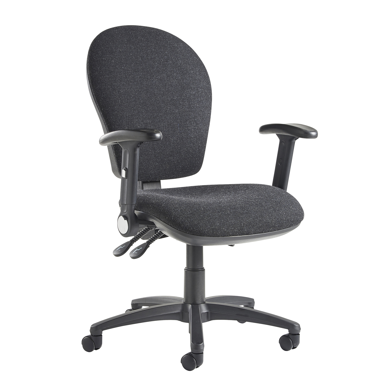 Lento high back operator chair with folding arms - charcoal