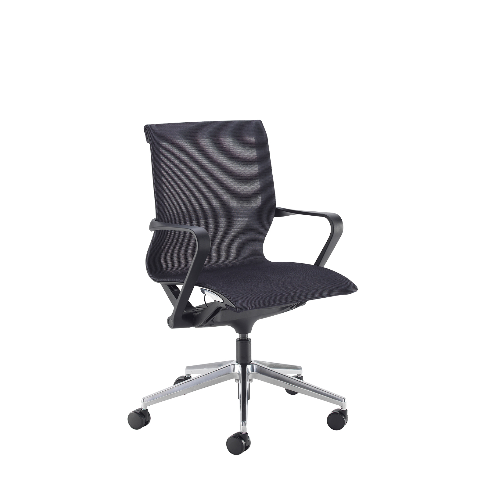 Lola medium back designer operators chair with black mesh and black frame and aluminium base