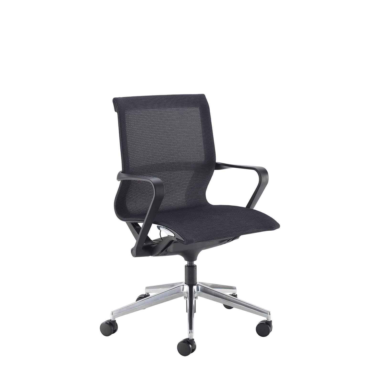 Lola medium back designer operators chair with black mesh, black frame and aluminium base