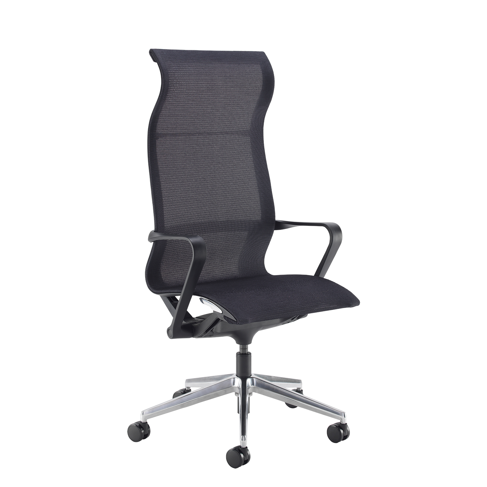 Lola high back designer operators chair with black mesh and black frame and aluminium base