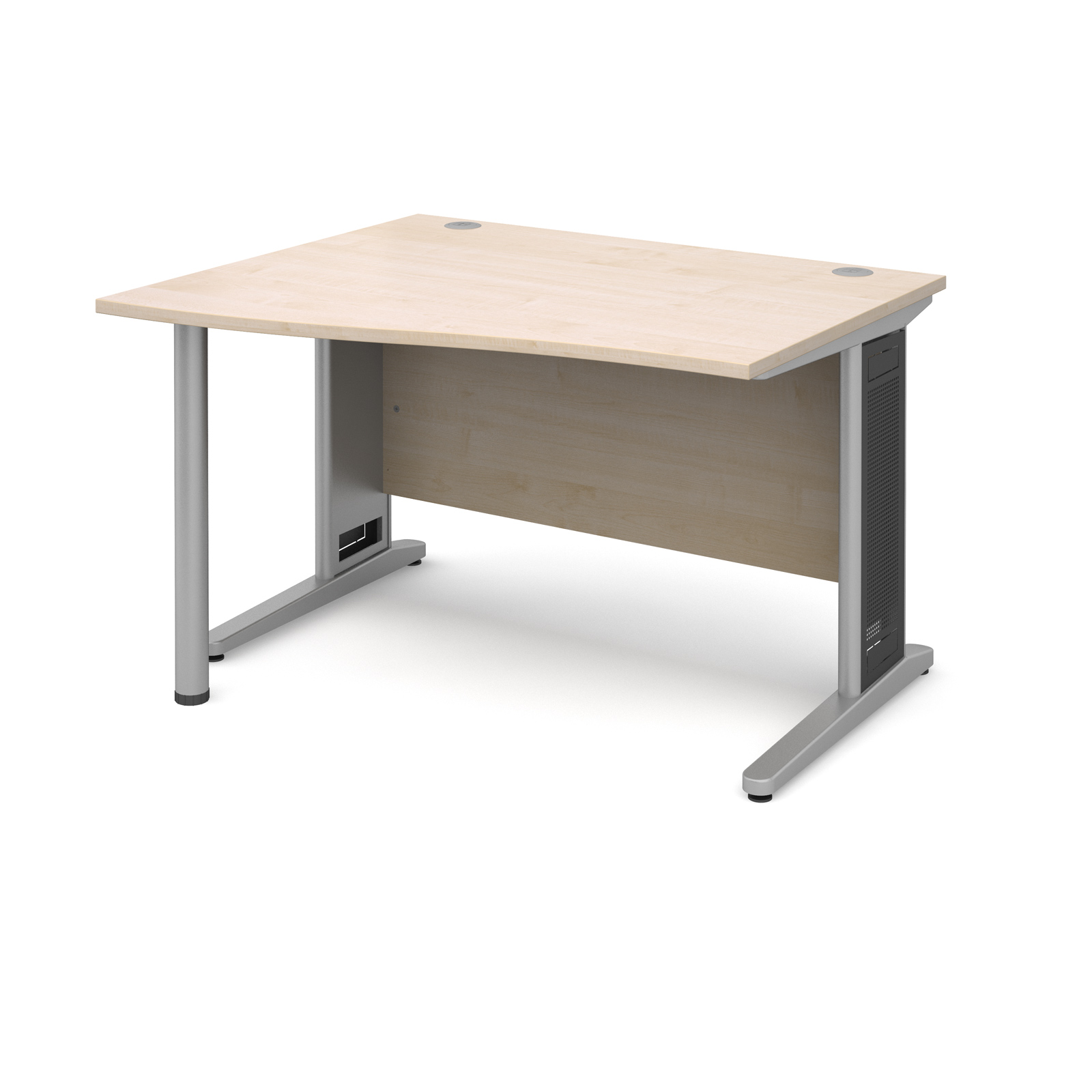 Largo left hand wave desk 1200mm - silver cantilever frame with removable grill, maple top