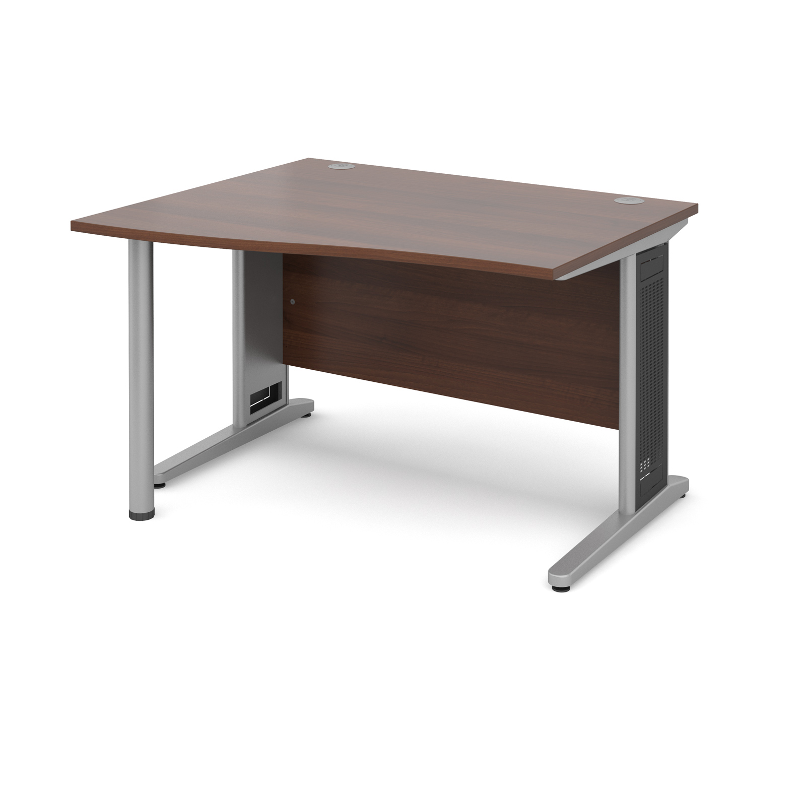 Largo left hand wave desk 1200mm - silver cantilever frame with removable grill, walnut top