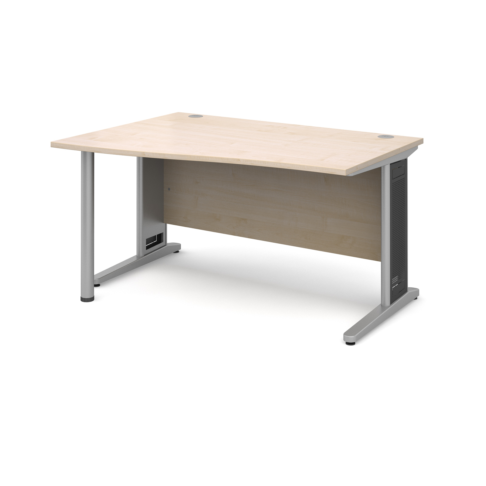 Largo left hand wave desk 1400mm - silver cantilever frame with removable grill, maple top