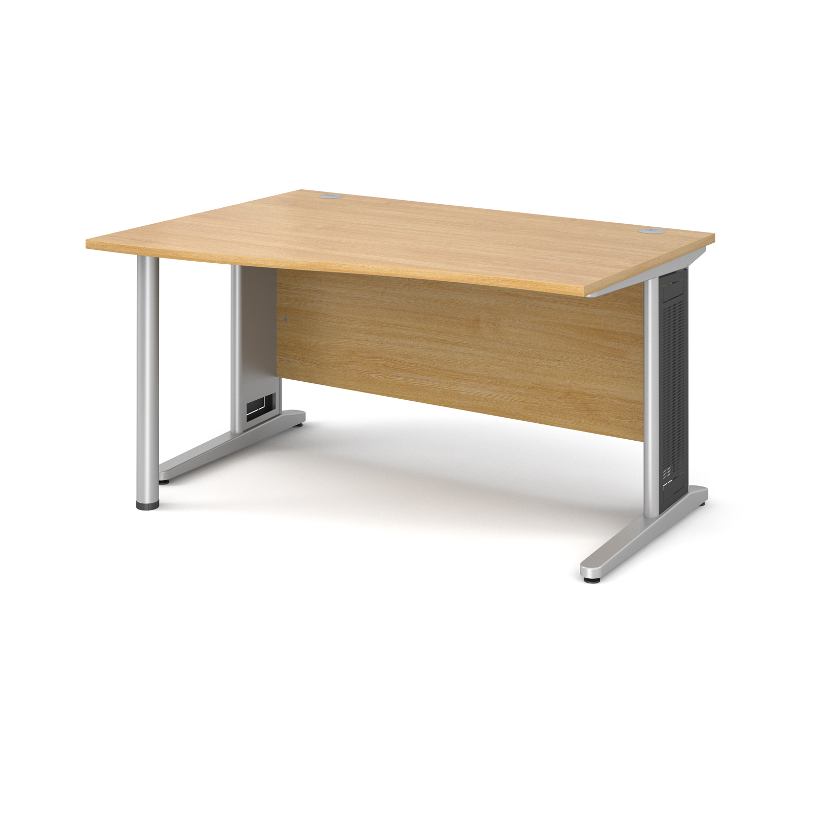Largo left hand wave desk 1400mm - silver cantilever frame with removable grill, oak top