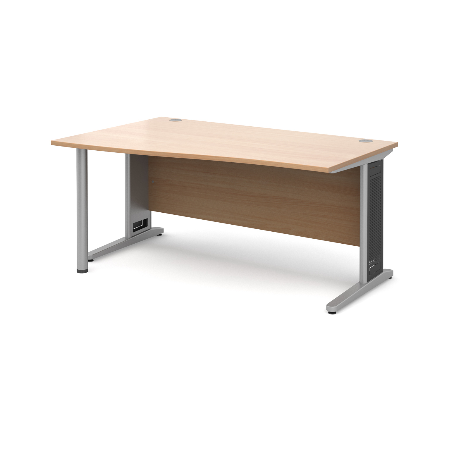 Largo left hand wave desk 1600mm - silver cantilever frame with removable grill, beech top