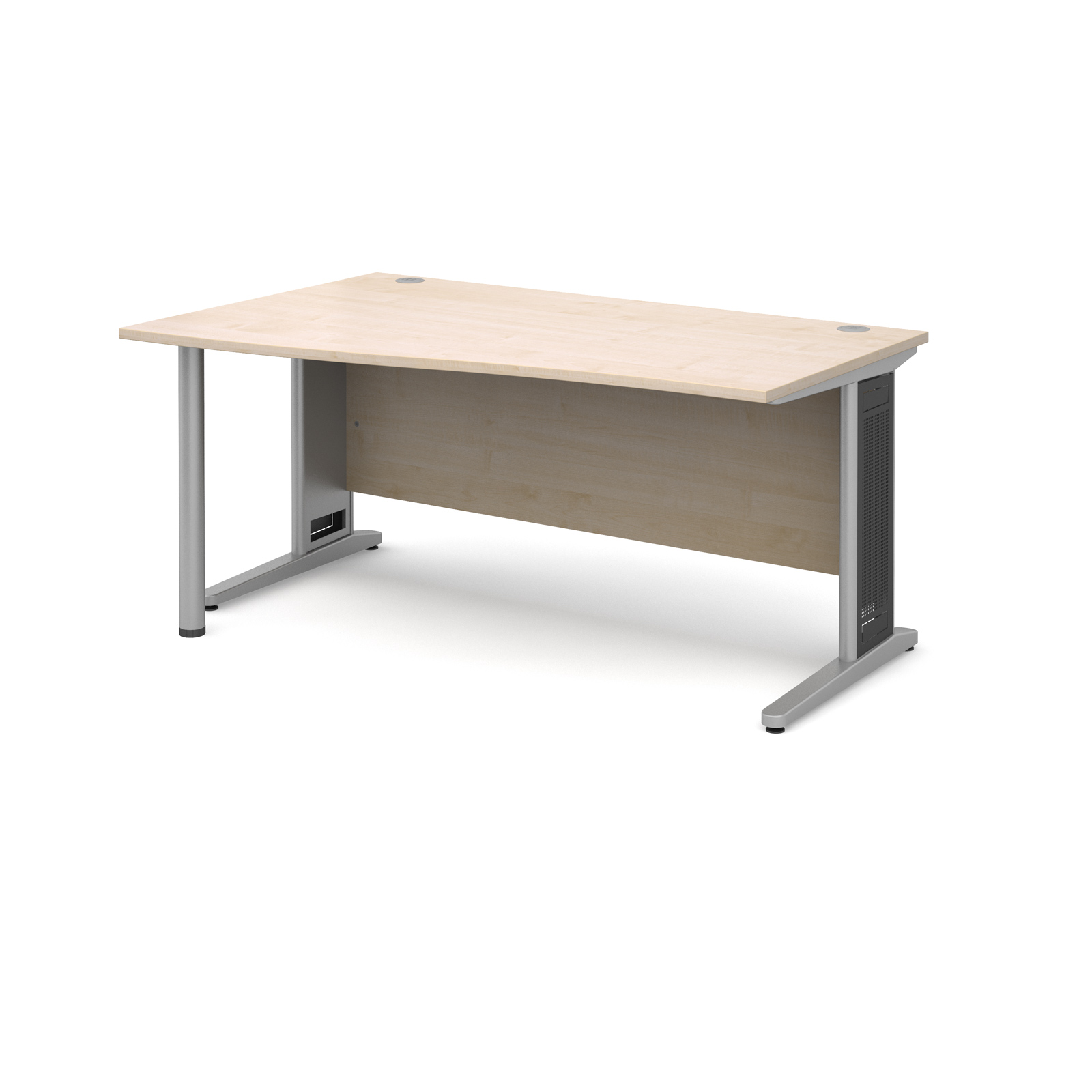 Largo left hand wave desk 1600mm - silver cantilever frame with removable grill, maple top
