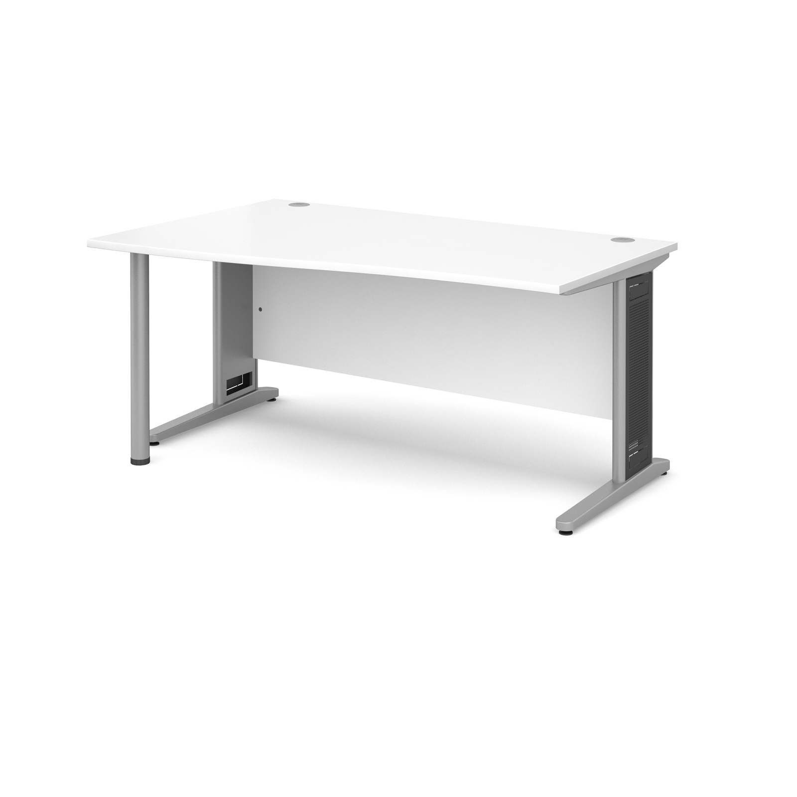 Largo left hand wave desk 1600mm - silver cantilever frame with removable grill, white top