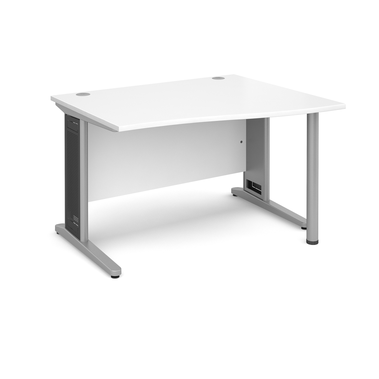 Largo right hand wave desk 1200mm - silver cantilever frame with removable grill, white top