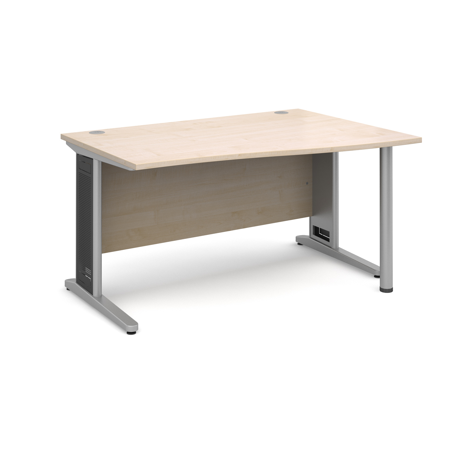 Largo right hand wave desk 1400mm - silver cantilever frame with removable grill, maple top